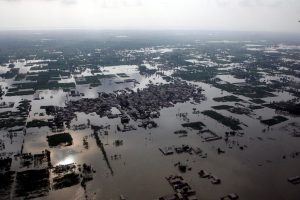 A view of heavy flooding caused by monsoon rains in Punjab Province, near the city of Multan, Pakistan.
